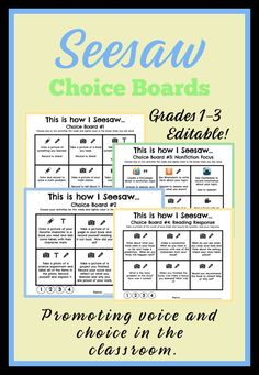 Editable Choice boards to use with Seesaw for grades Teaching Technology, Teaching Tools, Educational Technology, Teaching Resources, Technology Lessons, Instructional Technology, Instructional Strategies, Student Teaching, Seesaw App