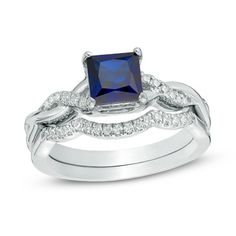 6.0mm Princess-Cut Lab-Created Blue Sapphire and 1/8 CT. T.W. Diamond Twist Shank Bridal Set in Sterling Silver