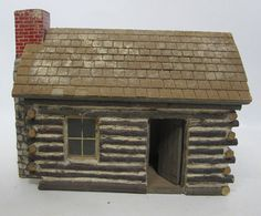 Antique Primitive Hand Made Miniature Log Cabin Home Folk Art Doll House  Early 1900's ~ Estate Fresh ~ Working Door!!!   Sold  Ebay   271.00