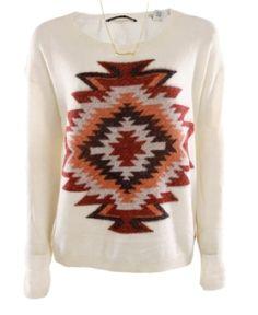 Koop Maison Scotch trui aztec print bij Men at Work Navajo Pattern, Native American Print, Creative Embroidery, Textiles, Sweater Hoodie, T Shirts, Christmas Sweaters, Graphic Sweatshirt, Maison Scotch