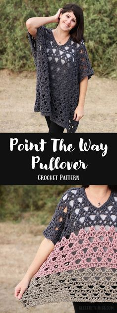 Crochet Pattern: Point The Way Pullover - gorgeous pullover for warmer weather, and free to play around with colors!