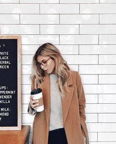 camel coat. subway tile