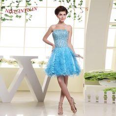 NIXUANYUAN 2017 Elegant Ruffles Party Dress Luxury Crystal Cocktail Dresses 2017 Short vestidos de cocktail Real Photos #Affiliate