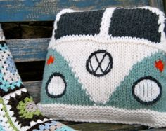 Pattern - Knit a Splitty Campervan (Kombi) Cushion Cover (Based on the VW Volkswagen Bus)