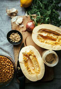 Stuffed Spaghetti Squash w/ Chickpeas & Garlicky Arugula Cream (vegan recipe) - The First Mess