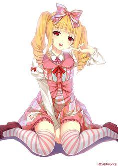 Kai Fine Art is an art website, shows painting and illustration works all over the world. Anime Chibi, Kawaii Anime, Lolita Anime, Fanart Manga, Anime Hair, Free Anime, Kawaii Girl, Character Concept, Anime Couples