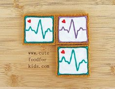 EKG Cookies. Totally doing this for my husband and his co-workers this Valentine's Day! He'll love it!