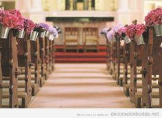 Decoración barata y bonita para bodas en iglesias, maceteros de hojalata y flores