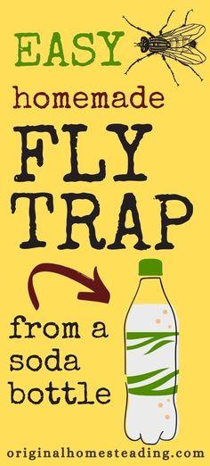 Homemade Fly Traps, Fly Bait, Get Rid Of Flies, Empty Plastic Bottles, Big Backyard, Soda Bottles, Hobby Farms, Raising Chickens