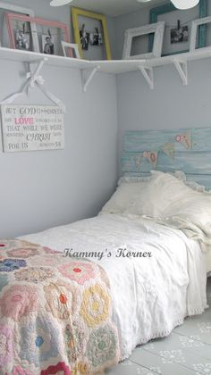 "Kammy's Korner: Shabby Chic ""Big Girl"" Room Reveal {Before and Afters} aqua blue DIY barnwood headboard, quilt, stenciled gray and white floor, picture frames photo display on shelf Girls Bedroom, Teen Girl Rooms, Teenage Girl Bedrooms, Small Room Bedroom, Little Girl Rooms, Bedroom Ideas, Bedroom Frames, Comfy Bedroom, Kids Rooms"