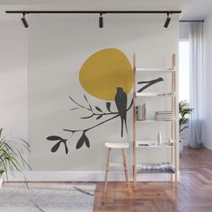 Bird and the Setting Sun Wall Mural by City Art - X Wall Painting Decor, Mural Wall Art, Wall Decor, Painting Murals On Walls, Creative Wall Painting, Bedroom Wall, Bedroom Decor, Wall Design, Decoration