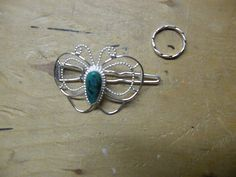 Barrette with Chrysocolla center & twisted Ring