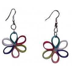 Multi coloured flower shape hangings - paper Jewellery