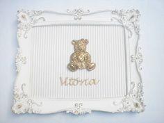 Porta maternidade quadro rococó 3 25x30 Fundo em tecido a escolha R$ 185,00