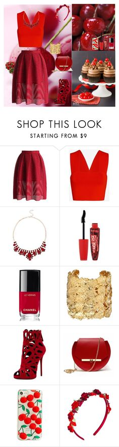 """Cherry Season"" by oksana-kolesnyk ❤ liked on Polyvore featuring Chicwish, A.L.C., Rimmel, Chanel, Aurélie Bidermann, Giuseppe Zanotti, Angela Valentine Handbags, Skinnydip and Vjera Vilicnik"