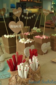 Candy Bar: the sweetest corner of a wedding - : the sweetest corner of a - Candy Table, Candy Buffet, Dessert Bars, Dessert Table, Candy Bar Comunion, Deco Baby Shower, Bar A Bonbon, Dulce Candy, Sweet Bar
