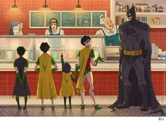 Batman takes all the Robins out for ice cream. Art by Eri.