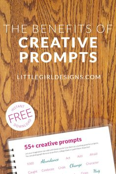 Download 55 creative prompts and learn how to use prompts to get ideas for writing, art journals, drawing, and creative FUN! I love using prompts for inspiration in my art making.