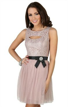Deb Shops metallic lace dress with keyhole neckline and satin bow waist $46.90