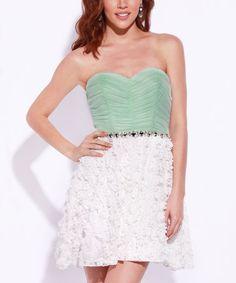 Loving this Mint & White Floral Strapless Dress - Women on #zulily! #zulilyfinds