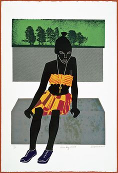 "Elizabeth Catlett  ""LatchKey Kid""  1987,  Serigraph. 47.6×30.4 cm. Private collection © Elizabeth Catlett"