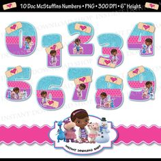 INSTANTÁNEA DOWNLOWD Doc McStuffins números por InstantDownloadShop Ballerina Birthday Parties, 4th Birthday, Clipart, Birthday Party Decorations, Party Themes, Party Ideas, Doc Mcstuffins Birthday Party, Ideas Para Fiestas, Disney Junior