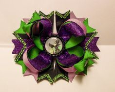 Maleficent stacked bow/ maleficant bow by TheWonderBowtique, $8.00
