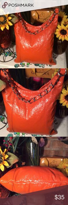 Cute Orange Hobo Bag Sz 12x15- Hobo bag- Good condition- Silver chain- Patent Leather- Vibrant orange- Very nice! Bags Hobos