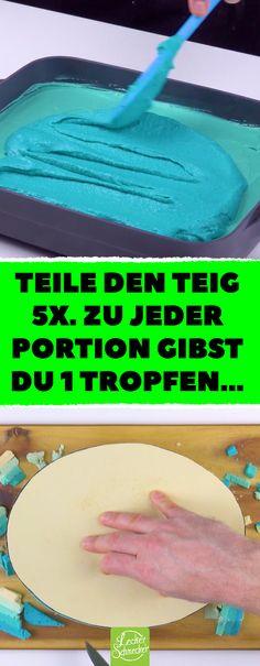 Teile den Teig 5x. Zu jeder Portion gibst du 1 Tropfen ... Dieser märchenhafte Kuchen eignet sich nicht nur für Kinder! #rezepte #kuchen #buffet #kinder #kindergeburtstag #märchen