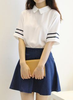 S-2XL Summer Lolita White Sailor dress Chiffon Blouse/shirt+washed denim skir t Cute Japanese&Korea Collage Uniform lovely dress