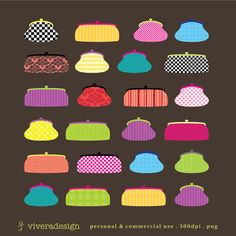 Digital Clip Art  Party Print Purses by viveradesign on Etsy, $5.00