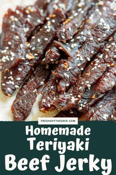 This DIY Beef Jerky is great for camping backpacking trips and day hikes! This jerky recipe includes a teriyaki marinade that gives it a great sweet & salty flavor. Get the recipe here! Teriyaki Beef Jerky Recipe Dehydrator, Beef Jerky Marinade, Beef Jerkey, Best Beef Jerky, Homemade Beef Jerky, Dehydrator Recipes, Teriyaki Marinade, Sweet Teriyaki Beef Jerky Recipe