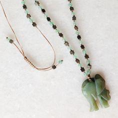 Green Elephant necklace