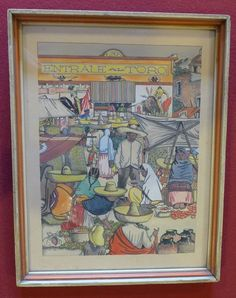 Vintage Early California Monterey Mexican 1940 watercolor by JORGE MURILLO