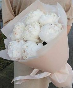 Business İdeas 638314947171579589 - A beautiful bouquet of full bloom ,white, with a tinge of pink , cabbage roses. Wrapped in white and a soft pink paper ,tied with pink ribbon. My Flower, Beautiful Flowers, Cabbage Roses, Deco Floral, Flower Aesthetic, Pink Paper, Planting Flowers, Floral Arrangements, Wedding Flowers