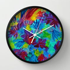 TUTTI FRUTTI - Fruit Punch Vibrant Summer Garden Floral Bouquet Flowers Bright Bold Colorful Abstract Acrylic Painting Decorative Fine Art Design Romantic Rainbow Whimsical Home Decor Wall Clock by EbiEmporium - $30.00
