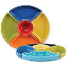 "Fiesta 5 Piece Entertaining Set in two different color combinations. Features a 6.75 oz. Bouillon Bowl (# 450) nested inside 4 separate compartment trays of different colors (12"" dia). These sets will fit perfectly on the # 575 Fiesta Baking/Pizza Tray (sold separately). #fiestaware #entertainmentset http://www.dinnerwareusa.com/shop/catalog/handler~event~familySelected~pf_id~13815.htm"