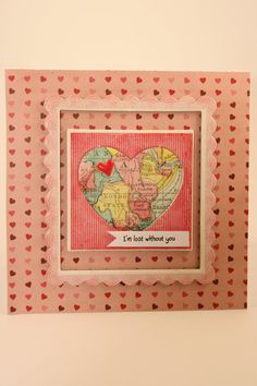 Square Heart in Map Lost Without You by CatieGraceCreations #‎craftshout0119‬