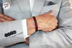 Men's Bracelet Leather Bracelet for Men Red Black by PearlTwinkle