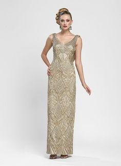 Sue Wong Dress W3433 - Embroidered Beige Long Column Dress