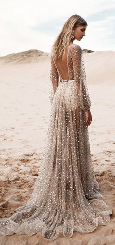 $10 - $500 V-Neck Backless High Waisted Shimmery Glittery Sequinned Beige Gold Alternative Prom Dress Gown