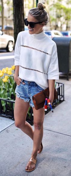 summer outfits White Top + Ripped Denim Short