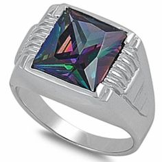Solid Rainbow Cz New Fashion .925 Sterling Silver Ring Size 9 * You can find out more details at the link of the image.