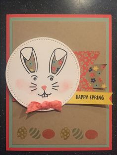 Super Cute card Using all Stampin' Up! products! This card I used the stamp set from the darling March Paper Pumpkin, And came up with cute Easter/Spring card