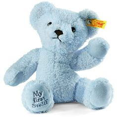 Steiff My First Steiff Teddy Bear ($28) ❤ liked on Polyvore featuring kids toys plush toys and light blue