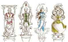 Godric Gryffindor, Salazar Slytherin, Rowena Ravenclaw, Helga Hufflepuff