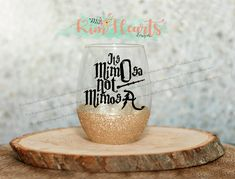 This Harry Potter wine glass features the phrase Its mimOsa not mimosA in black vinyl with a black vinyl wand. This glass comes in different 4 style options with or with out glitter and stemmed or stemless. There are 9 glitter options to choose from which is shown in the photos. Because each glass