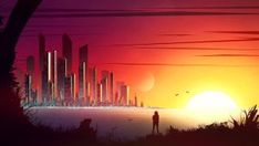 Titans by kvacm on DeviantArt Northern Lights, Digital Art, Deviantart, Sunset, Night, Illustration, Travel, Moon, Outdoor