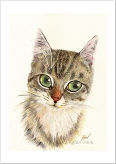 cat art print A Thinking Cat cat portrait cat lover gift