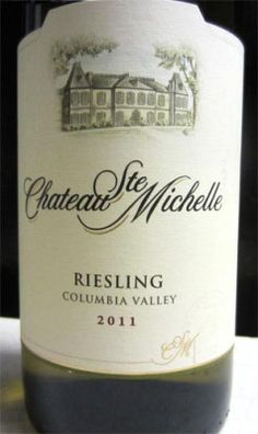 2011 Chateau Ste Michelle Riesling - a medium-dry Riesling from Washington state with peach, pear and light citrus flavors. An excellent wine for under $8. Rating: 4/5